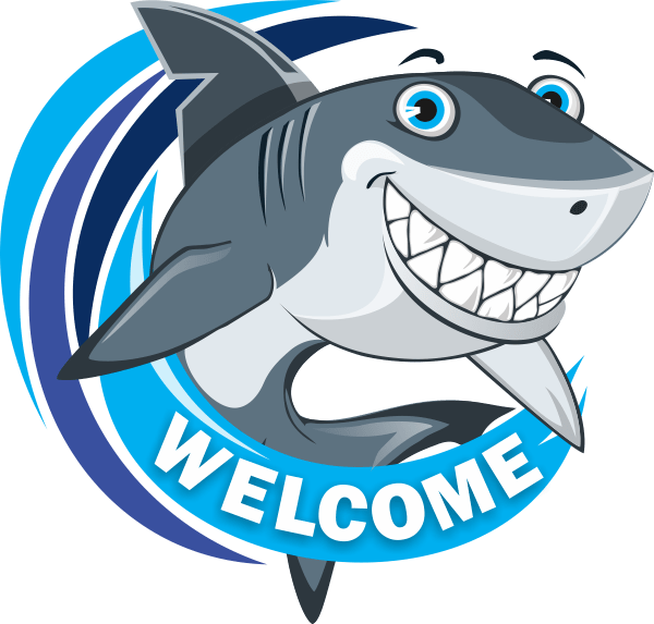 Mark the shark says welcome